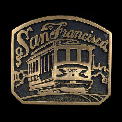 Vtg NOS San Francisco California CA Cable Car Trolley Solid Bronze Belt Buckle