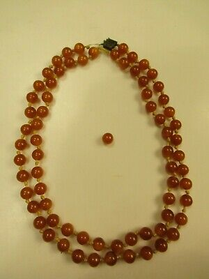 """Vintage 1940s-1950s Amber Bead 9"""" Double-Strand Necklace - Made with String"""
