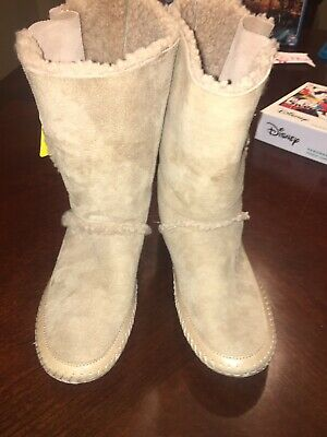 747577915 TORY BURCH TALL Shearling Lined Suede Leather Boots In Tan Emblem ...