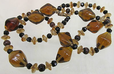 Vintage Art Glass Beaded Necklace Root Beer Brown & Black with Swirl Spacers
