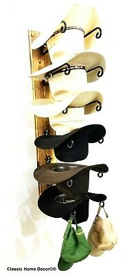 Cowboy Hat Rack STAR American Made with Charred Wood Base 6 Tier