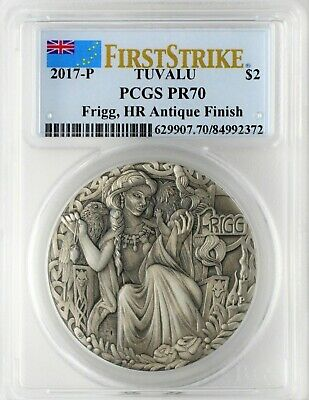 2017-P $2 Tuvalu Norse Goddesses Frigg 2oz High Relief Antiqued PCGS PR70 FS