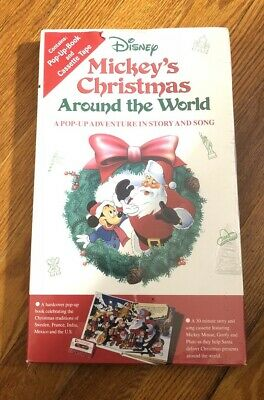 Mickey's Christmas Around the World Pop-Up Adventure Story Song Book 1991 SEALED