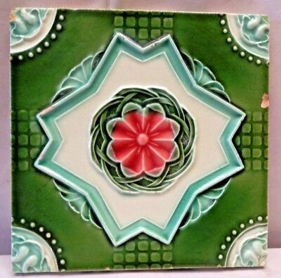 Tile Japan Art Deco Majolica Cramic Porcelain Flower Design Green Collectibl#230