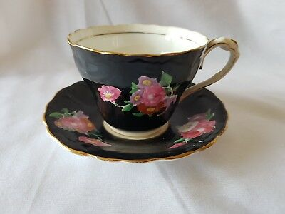 Paragon Red and Pink Flowers on Black Tea Cup, late 1930's