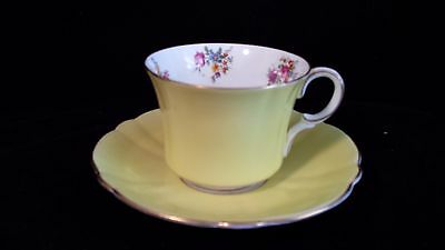 Foley Yellow and Rose Bouquet Cup and Saucer