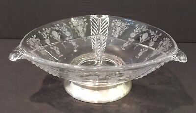 VTG Etched Crystal 3 Section Dish With Solid Sterling Silver Base w Hallmarks