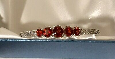 "Beautiful Red Citrine Platinum 925 Sterling Silver Openwork 7.25"" Cuff Bracelet"