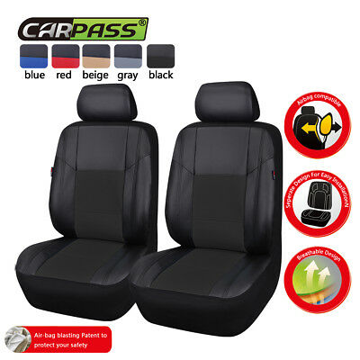 Universal Car Seat Covers Leather Black Two Front For Car Truck SUV HONDA FORD
