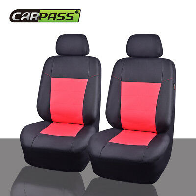 Premium Universal 2 front Car Seat Covers Black Red for Girls Women Waterproof