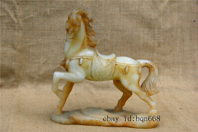 "10"" Chinese rare Asian antique Carved old white jade Zodiac horse statue"