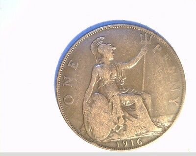 1916 Great Britian Large Penny, Medium to High Grade Bronze Coin, (UK-206)