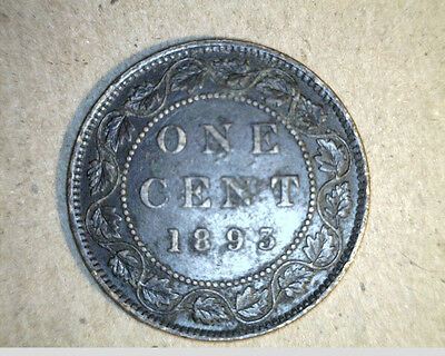 1893  Canada, One Cent,  High Grade Bronze   (Can-91)