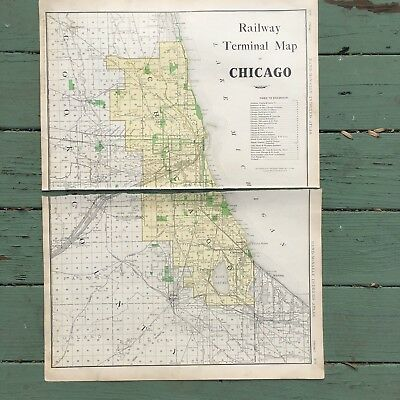 Large Antique Map of Chicago Railroads 1911 Rand-McNally Atlas 28.25 x 20.5