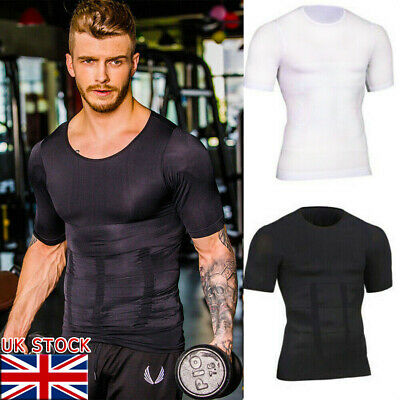 Mens T Shirt Compression Top Gym Sports Under Base Layer Short Sleeve T-Shirt UK