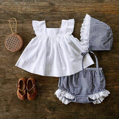 UK Sweet Newborn Baby Girl Clothes Dress Tops+Shorts Pants Outfit Sunsuit 0-24M