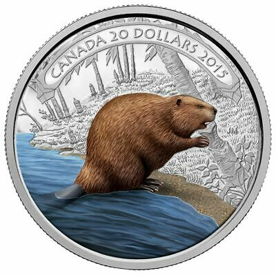 2015 'Beaver at Work' Color Proof $20 Fine Silver Coin 1oz Canadian Coin