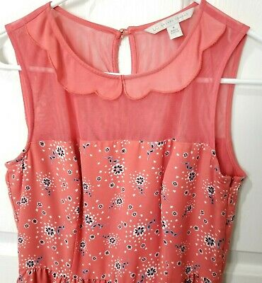 LC Lauren Conrad Coral Dress Size 4 Sleeveless Floral Fit N Flare Elastic Waist