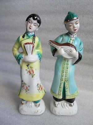 Nyonyaware Straits Chinese Porcelain Boy and Girl Musician Figurines
