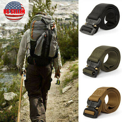 Heavy Duty Adjustable Tactical Belt  Buckle Combat Military Rescue Rigger Strap