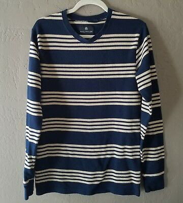 Shouthouse Mens Navy Blue and Cream Striped Thermal Henley Shirt Size Medium