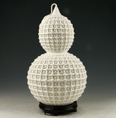 Exquisite Dehua Porcelain Hand Carved Gourd Shape Hollow Out Vase AAA0261
