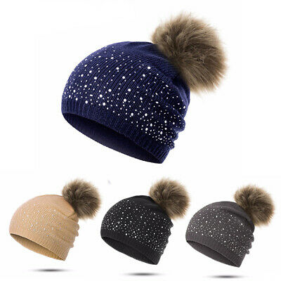 Women Warm Winter Wool Knit Beanie Fox Fur Pom Bobble Hat Crochet Ski Cap Hot