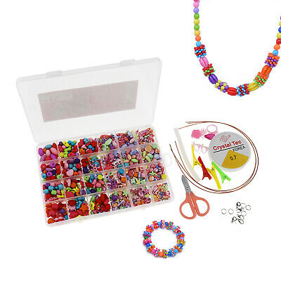 720X Mixed Color Jewelry Bead Set *DIY Necklace For Kids Crafts Kit Free Cord