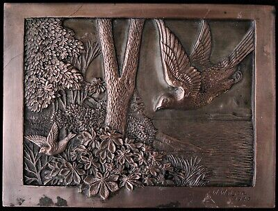 "Antique Copper Plated Relief Wildlife Art Plaque Signed ""W. Watson"" Circa 1940"