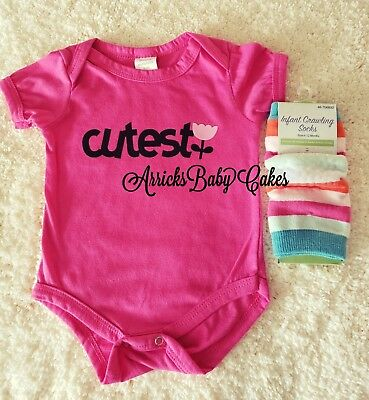"""The """"Cutest"""" Baby Girl Bodysuit With Matching Crawling Socks By ArricksBabyCakes"""