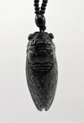 Fine Natural Dark green Hand-carved Chinese Jade Pendant -Free Necklace Cicada