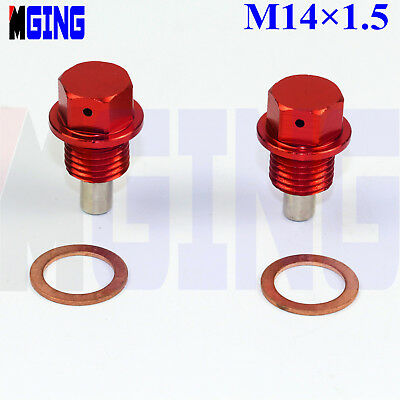 2X M14x1.5 Engine Magnetic Oil Pan Drain Plug Bolt Anodized Crush Washer ~Silver