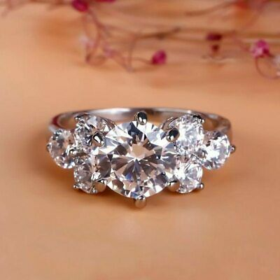 Certified 2.60Ct Round Cut White Diamond 14K White Gold Seven Stone Promise Ring