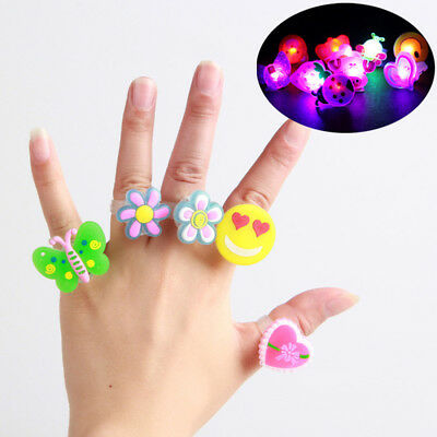 10/50Pcs LED Flashing Cartoon Finger Rings Lights Soft Rubber Kids Party Gifts