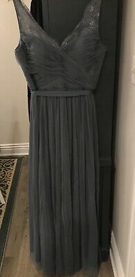 c4b49cc00a88 Anthropologie BHLDN Hitherto Fleur Dress Pewter Gray Size 14 Lace Tulle Used