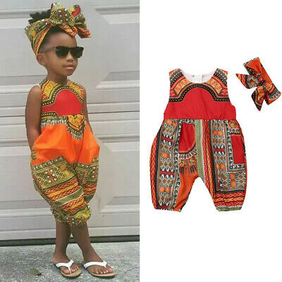 UK Infant Baby Girls Kids African Jumpsuit Clothes Toddler Playsuit Outfit Sets