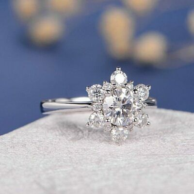 Certified 1.70Ct Round Cut White Diamond 14K White Gold Floral Anniversary Ring