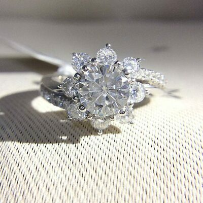 Certified 1.85Ct Round Cut White Diamond 14K White Gold Floral Engagement Ring