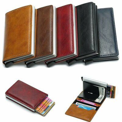 Auto Credit Card Holder Leather RFID Blocking Metal Wallet Money Clip for Men OL