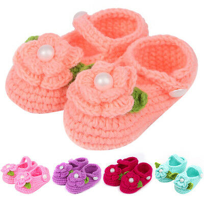 Cute Newborn Baby Infant Girls Crochet Knit Flower Socks Crib Shoes 0-18 Months