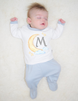 Personalised Initial Moon and Clouds Organic Baby Pyjamas Footed Baby Gifts