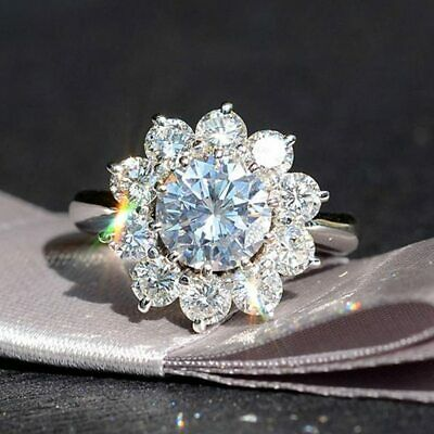 Certified 2.60Ct Round Cut White Diamond 14K White Gold Floral Anniversary Ring