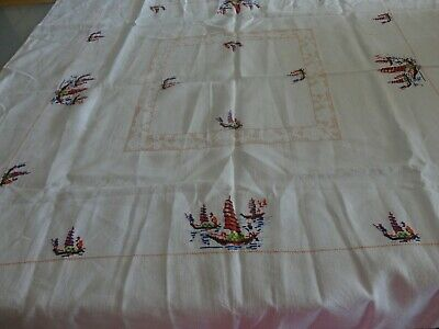 Vintage  Embroidered table cloth pure linen chinese junks