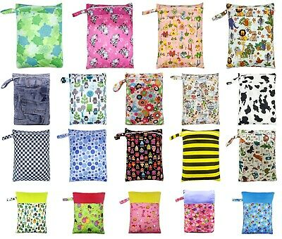 Baby Cloth Nappy Large Wet Bags Double Pockets Zippers Waterproof PUL Swimmer