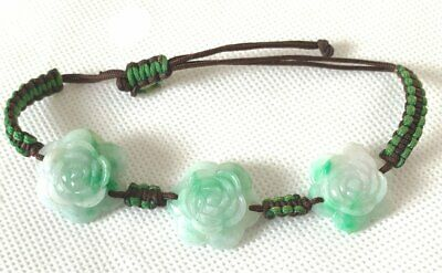 Grandma's collection Natural Grade A Jade (jadeite)  green Knitted Bracelet