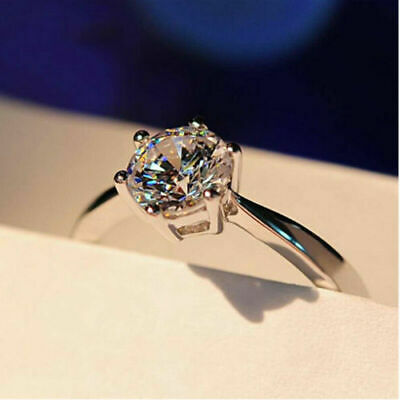 14k White Gold Over 1.00 Ct Round Cut Diamond Solitaire Engagement Wedding Ring