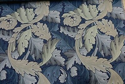 WILLIAM MORRIS CURTAIN FABRIC Acanthus Tapestry 3.8 MT INDIGO AND MINERAL WOVEN
