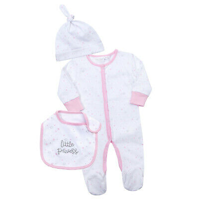 Baby Girls Little Princess Babygrow + Hat + Bib 3 Piece Set Outfit Newborn Gift