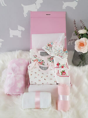 PERSONALISED 'Floral' New Baby Girl Gift Hamper, Baby Shower Gift Box