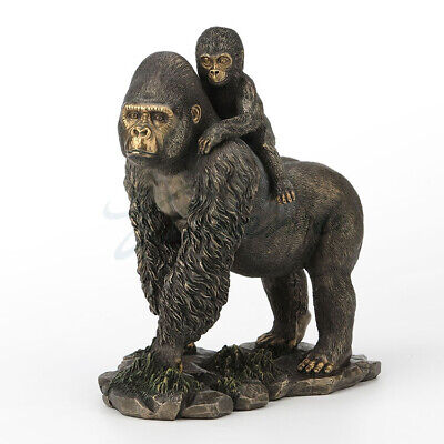 """10"""" Western modern Art copper resin Chimpanzee Mother and son statue Sculpture"""